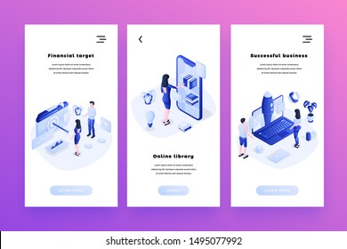 Successful business isometric smartphone interface banners templates set. Financial success, aiming at target audience web poster. Online library, digital books collection website page design layout