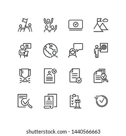 Successful business line icon set. Approved document, celebrating team, cup, reward. Business concept. Can be used for topics like leadership, triumph, winning, teamwork