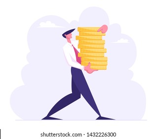 Successful Business Man Carry Stack of Gold Coins, Character with Money Cash. Financial Profit Salary Wealth Concept. Rich Businessman Making Saving Increasing Capital Cartoon Flat Vector Illustration