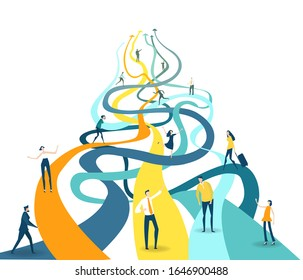 Successful business man standing in front of multiple pathways,  making a decision for the right move.  A symbol of great investment and positive progress in the development of business.