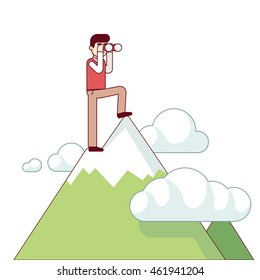 Successful business man standing at mountain top and looking through binoculars. Leader and leadership concept. Modern flat style thin line vector illustration isolated on white background.