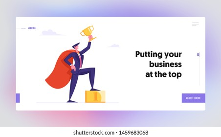 Successful Business Man in Super Hero Cape Hold Gold Goblet Stand on Golden Podium with Number One, Goal Achievement Concept Website Landing Page, Web Page. Cartoon Flat Vector Illustration, Banner