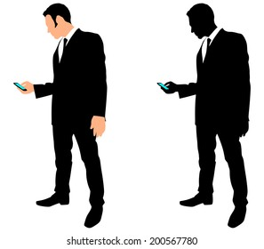 successful business man use cell phone, vector