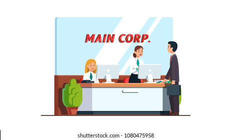 Successful business man visitor standing at corporation reception desk. Smiling women registering customer at reception desk. Business interior. Flat vector illustration isolated on white background