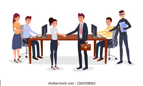 Successful business meeting vector illustration. Cheerful colleagues, coworkers cartoon characters. Cooperation negotiation, corporate agreement, handshake, business development team