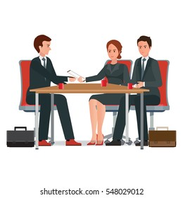 Successful business negotiations over a round negotiations table, signed contract, conceptual isolated on white background. character flat design vector illustration.