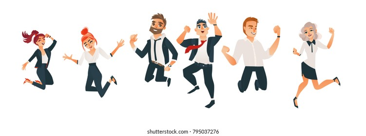 Successful business office men and women jumping set. Characters in office corporate clothing, tuxedo. Vector cartoon isolated illustration, white background