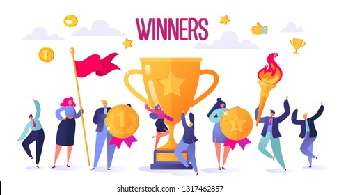 Successful business people with prize, golden goblet. Concept of business successful teamwork. Men and women celebrating victory. Achievement concept.  Flat, cartoon, trendy, vector illustration.