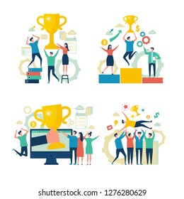 Successful business people. Working people managers rewards victory attainment estimates concept vector scenes business characters
