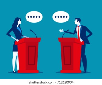 Successful. Business person a speaking  at podium. Concept business vector illustration.