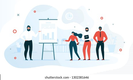 Successful Business Project Presentation, Company Strategy Planning, Statistics Indicators Analysis Flat Vector Concept. Businessman Showing Graphs on Flip Chart for Colleagues in Office Illustration