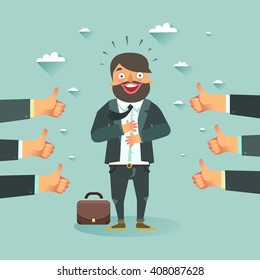 Successful business story concept. Happy businessman got a lot of likes from partners and clients. Vector colorful illustration in flat style