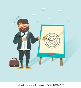 Successful business story concept. Happy businessman got a win in darts. Vector character in flat style