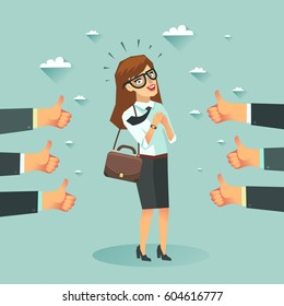 Successful business story concept. Happy businesswoman got a lot of likes from partners and clients. Vector colorful illustration in flat style