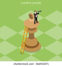 Successful business strategy flat 3d isometry isometric strategy concept web vector illustration. Business on top of king chess piece looking spyglass forward future. Creative people collection.