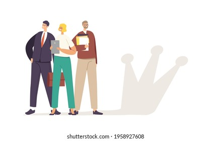 Successful Business Team Male and Female Characters Posing with Paper Documents and Crown Shadow on Wall. People Celebrating Victory, Successful Project, Teamwork Concept. Cartoon Vector Illustration