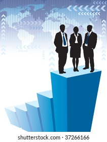 Successful business team is standing on a large graph, world map in the background. The base map is from Central Intelligence Agency Web site.