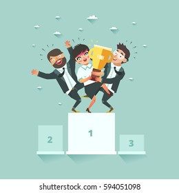 Successful business teamwork and cooperation concept. Three businessmen standing together on the winners podium with award. Vector illustration in flat style.