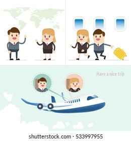 a successful business trip by airplane. businessman and businesswoman with luggage on work and travel around the world.