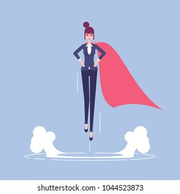 Successful business woman or female office worker in suit and red cape takes off up vector flat illustration. Business concept career growth and leadership