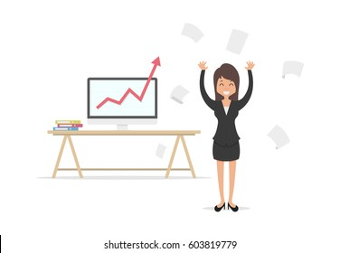 successful business woman, happy people raised his hands standing in front of her computer and throws paper, success at work, vector illustration flat design style and isolated on white background