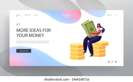 Successful Business Woman with Money Cash. Financial Profit, Salary, Wealth. Businesswoman Making Savings Increasing Capital Website Landing Page, Web Page. Cartoon Flat Vector Illustration, Banner