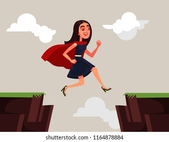 Successful business woman office worker character jumping over rock. Career business difficulties vector cartoon illustration