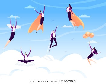 Successful business woman at sky, vector illustration. Adult woman character in business suit, high professional career, happy manager in clouds. Employee victory, susseccful work project.