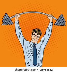 Successful Businessman with Barbell. Pop Art. Vector illustration
