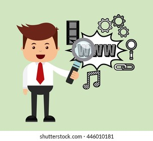 successful businessman character isolated icon design, vector illustration  graphic