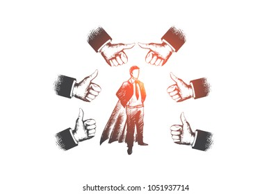 Successful businessman concept. Hand drawn businessman in superhero costume. Person surrounded by gesture thumbs up isolated vector illustration.