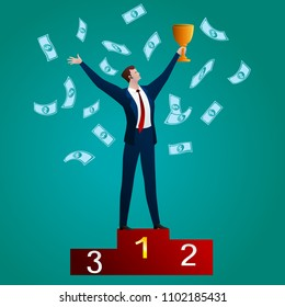The successful businessman with a cup on a red pedestal on a green background. Business concept. Vector flat clip-art illustration.