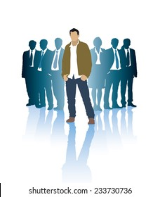 Successful businessman in front of a group of people