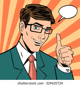 Successful businessman gives thumb up in vintage pop art comics style. Likes and positive feel. Gesture good, hand and glasses, agree and smile, finger agreement, vector illustration