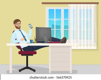 Successful businessman having rest on workplace in office. Man manager sits on a chair, his feet on the table. Business vector illustration
