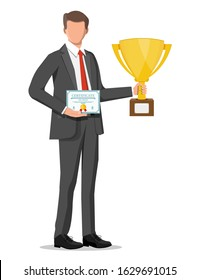 Successful businessman holding trophy and showing award certificate, celebrates his victory. Business success, triumph, goal or achievement. Winning of competition. Vector illustration flat style