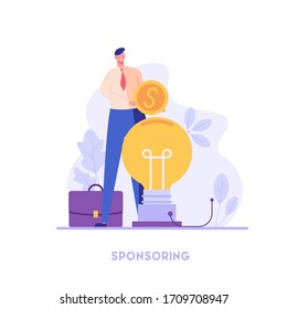 Successful businessman investing money in big idea. Sponsor standing with coin. Concept of startup, sponsoring, crowdfunding. Vector illustration for UI, web banner, mobile app