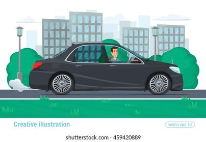 Successful businessman man rides through the city on prestigious car business class black. Vector illustration cartoon male and car colorful modern flat design