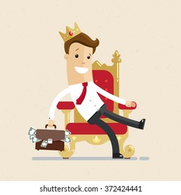 A successful businessman or manager is sitting on the throne like a king with crown on his head. Illustration, vector EPS10