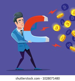Successful Businessman Mining Bitcoin with Big Magnet. Crypto Currency Market Concept. Vector illustration