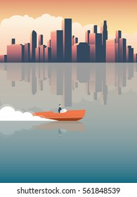 Successful businessman on a fast speed boat riding in front of commercial, corporate urban downtown skyline with skyscrapers. Eps10 vector illustration.