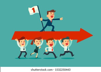 Successful businessman on red arrow carried by his business team. Leading business team forward. Business team leader concept.