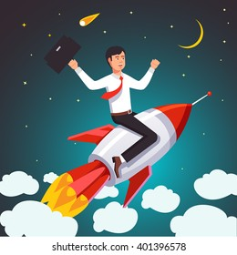 Successful businessman on a rocket flying high in the sky above the clouds. Flat style vector illustration.