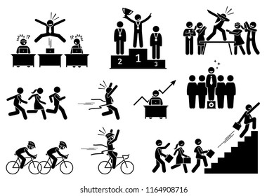 Successful businessman outdoing his colleagues. Pictogram depicts a person surpass, being better, and outperform others. He celebrates his success and achievement for the extraordinary performances.