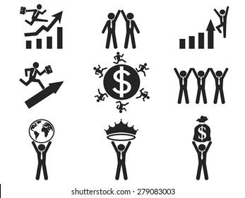 successful businessman pictogram icons set