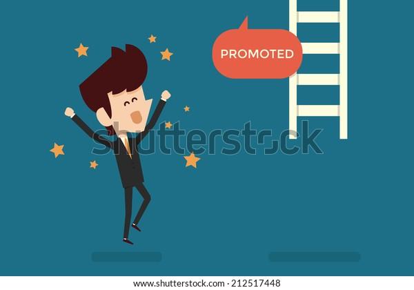Successful businessman promoted flat design