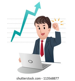 Successful businessman raising fist up in air, on a graph chart indicating growing sales with big arrow
