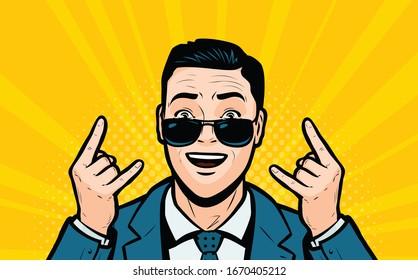 Successful businessman. Retro comic pop art vector illustration