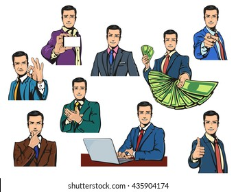 Successful businessman with smile or smirk in pop comics retro or cartoon style with different gestures like thumbs up or O.K., applause or pointing finger, offering money or thinking