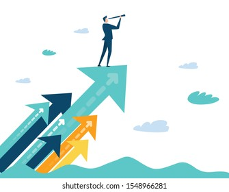 Successful businessman standing on the arrow, which pointing up as symbol of achievement, success and developing business in successful way. Businessman looking forward with the telescope.